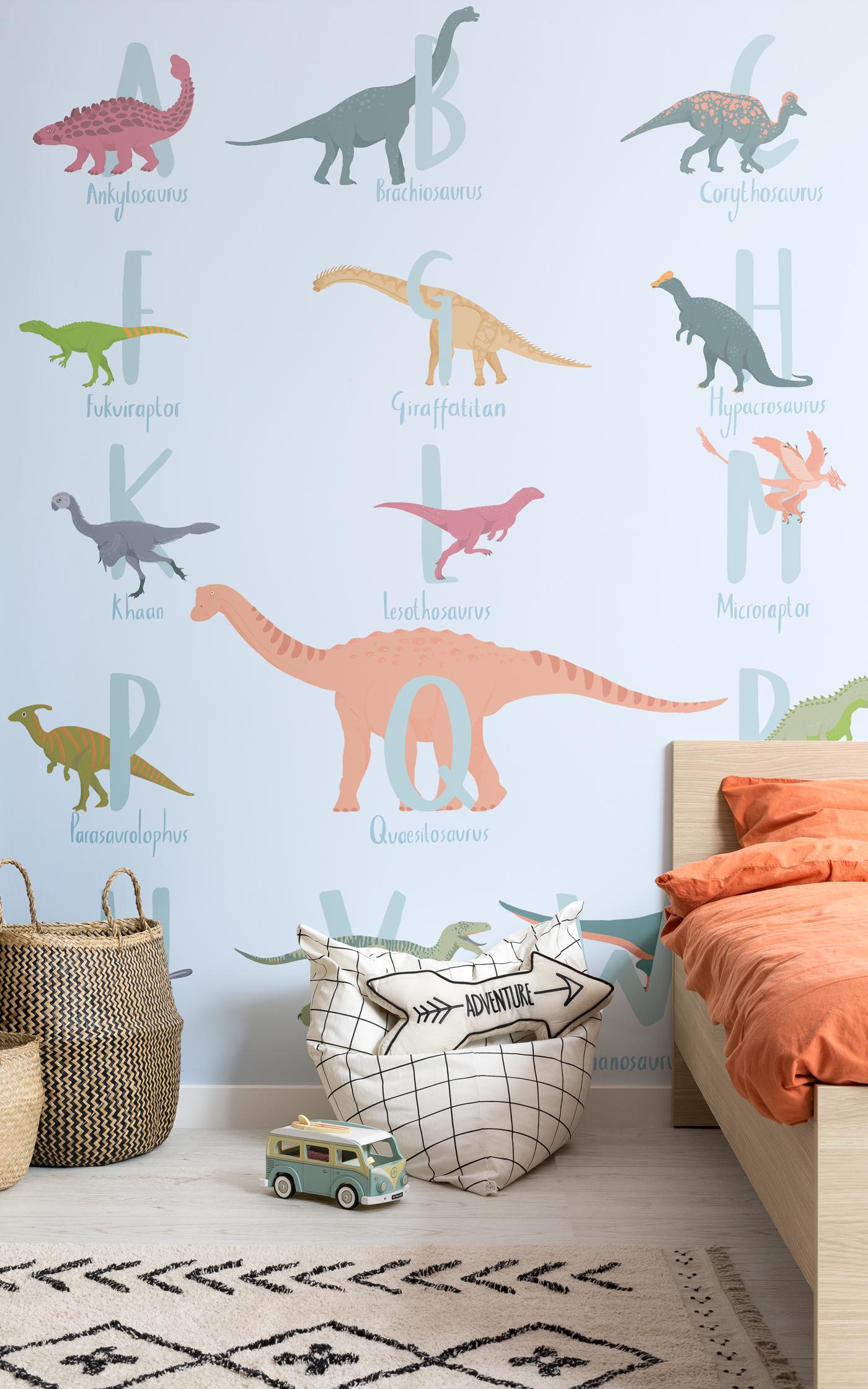 I tuoi bambini imparano l'alfabeto con la carta da parati con i dinosauri