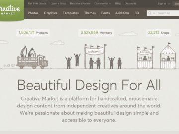 Su Creative Market trovi immagini, font e temi per il tuo sito o per i tuoi canali social
